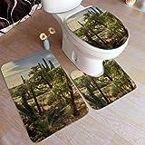 Alfombra de baño, Alfombras de baño, Panorama Desert Cactus Saguaros Cholla Mountain Alfombrilla de baño Antideslizante, Alfombra de baño en Forma de U Alfombrilla de Ducha Alfombra de baño, para bañ