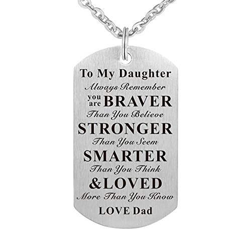 To My Daughter Always Remember You are Braver than You Believe Birthday Gift Jewelry Dog Tag Keychain Pendant Necklace From Dad