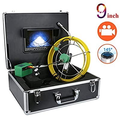Sewer Inspection Camera, 100ft Plumbing Camera with DVR Video Pipe Inspection Equipment 9 inch LCD Monitor Sewer line Camera Snake Video System 1000TVL HD Color Duct Camera (100ft/30m-DVR)