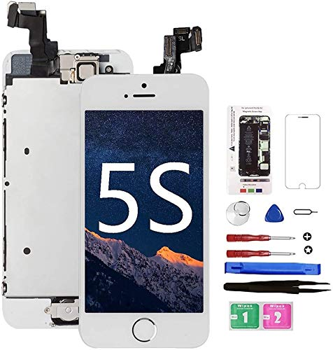 Mobkitfp for iPhone 5S Screen Replacement White with Home Button Full Assembly LCD Display Digitizer Screen with Magnetic Screw Mat+Repair Tools Kit+Tempered Glass for A1533, A1530, A1453, A1457
