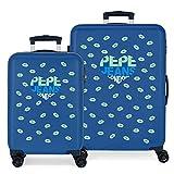 Pepe Jeans Ruth Juego de Maletas Azul 55/68 cms Rígida ABS Cierre combinación 104L 4 Ruedas Dobles Equipaje de Mano
