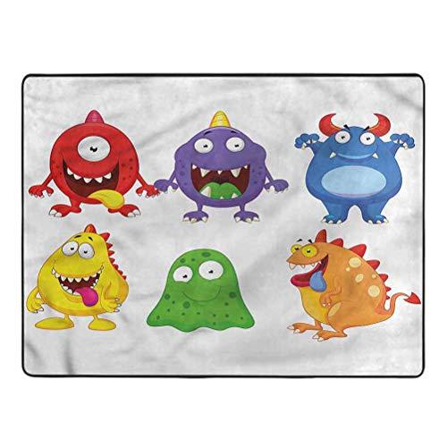 Funny Bedroom Rug Cartoon Monsters Smiley Faces Rugs for Bedroom Living Room Girls Kids Nursery 5' x 7'