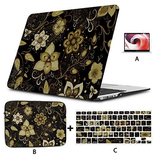 Laptop Hard Cover Black Seamless Floral Gold Flowers Mac 15 Inch Case Hard Shell Mac Air 11'/13' Pro 13'/15'/16' With Notebook Sleeve Bag For Macbook 2008-2020 Version