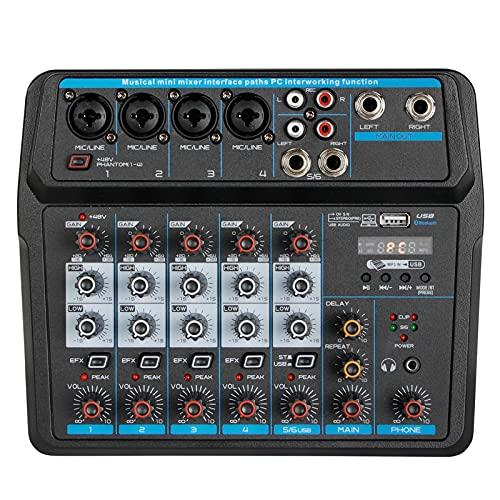 QuRRong Mesa de Mezclas 6 Canales Bluetooth Mini Mezclador DJ Console USB Tarjeta De Sonido con Efecto De Reverberación para Transmisión en Vivo (Color : Black, Size : One Size)