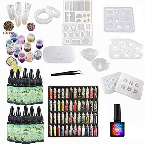 10x30ML Resina UV Epoxi Transparente con 15 Moldes de joyería 60 Decoraciones + Lámpara portátil + 10ML Esmalte Gel Top Coat, Kit de resina para hacer aretes Pulseras Collares