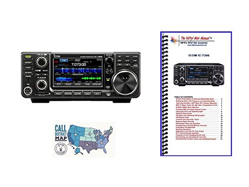Icom IC-7300 HF/50MHz 100W Base Transceiver with Nifty! Mini Manual and Ham Guides TM Quick Reference Card Bundle!!