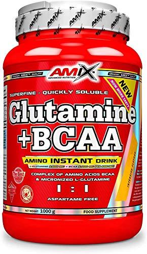 Amix - Glutamina + Bcaa - Suplemento Alimenticio - Mejora del Rendimiento - Contiene Aminoácidos Bcaa - Glutamina en Polvo - Nutrición Deportiva - Sabor a Lima / Limón - Bote de 1 Kg