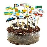 Amosfun 54 piezas de decoración para tartas infantiles, diseño de construcción, camión, construcción, decoración para cupcakes, pasteles, frutas, postres, bodas, niños, fiestas de cumpleaños