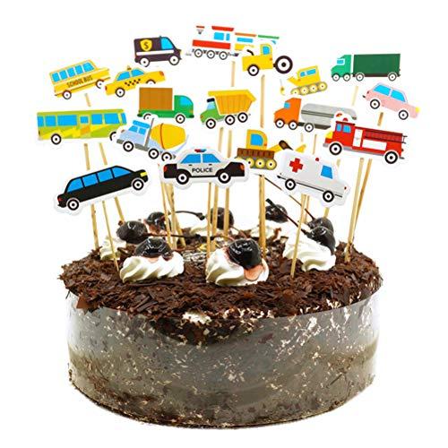 Amosfun 54 stücke Kinder Kuchendeckel BAU LKW BAU Thema Cupcake Topper Kuchen Picks Obst Picks Dessert Topper Hochzeit Kinder Geburtstag Party Favors