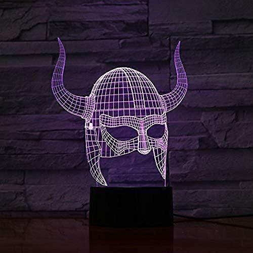 3D Nachtlicht Nachtlampe Schlaflicht Kunstdekoration 3D Lampe Wikingerhelme Visueller Lichteffekt Farbwechsel mit Fernbedienung Beste Dekoration Led Nachtlichtlampe