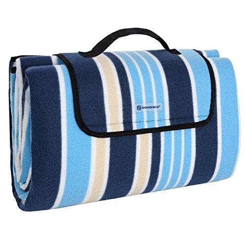 Songmics GCM70L Picknickdeken, fleece, warmte-isolerend, waterdicht, met draaggreep, 200 x 200 cm