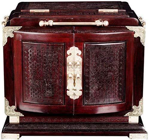 THj Schöne Schmuckschatulle, Natur Mahagoni Schmuck Aufbewahrung Massivholz Kommode Schmuck Schatzkiste Schubladen Uhr Box Damenschmuck Geschenkbox Exquisit