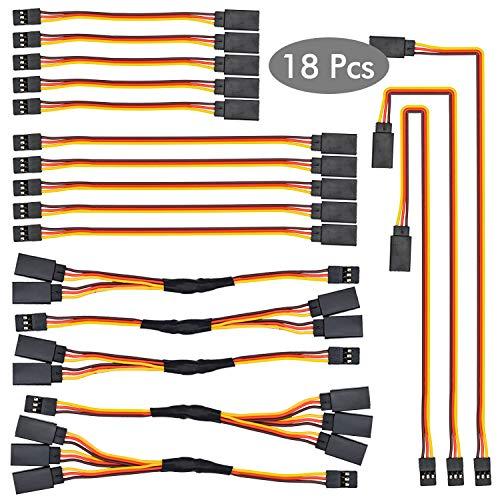 NATEE RC Servo Verlängerungskabel, 5pcs 100mm, 5pcs 150mm, 3pcs 300mm Servoverlängerung, 3pcs 1 auf 2 Y Kabel, 2pcs 1 auf 3 Kabel, JR Stecker für Fernbedienung Flugzeug - 18 Stück