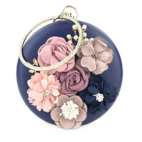 Trayosin Multi-Color Runde Handgemachte dreidimensionale Blume Strass Handschellen Damen Bankett Tasche Clutch Handgemachte (Dunkelblau)