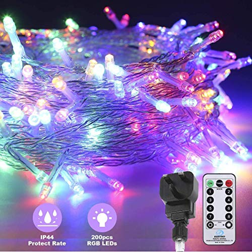 Christmas Lights,Color LED Fairy String Lights 75Ft/23M 200 LEDs Strips Lights Plug in with Adapter Mains Powered IP44 Waterproof for Indoor Outdoor Wedding Festival Christmas Holiday Party shine