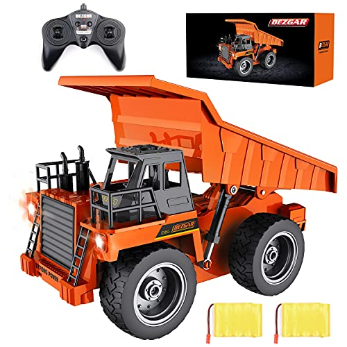 BEZGAR Remote Control Construction Dump Truck Toy, 6 Channel RC Dump Truck Toys, RC Construction Truck Vehicle Toys with 2 Rechargeable Batteries, TK183
