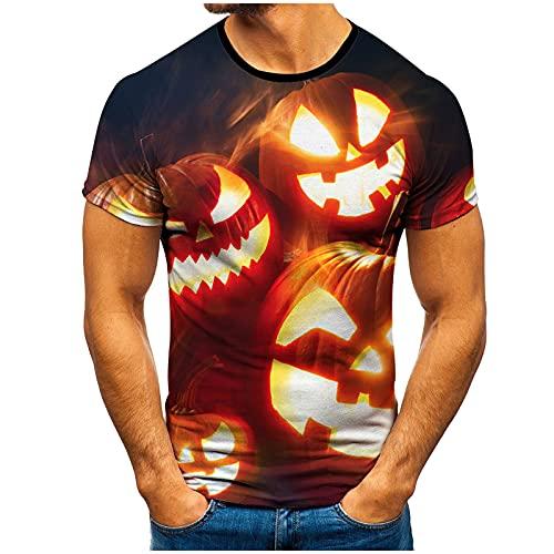 T-Shirt für Herren Kurzärmliges Oberteil Sommer Shirt mit Halloween-Bedrucktes Lässig Kurzarmshirt Freizeit Rundhals Tops Party Familie Einkaufen Fitness Sweatshirt Männer