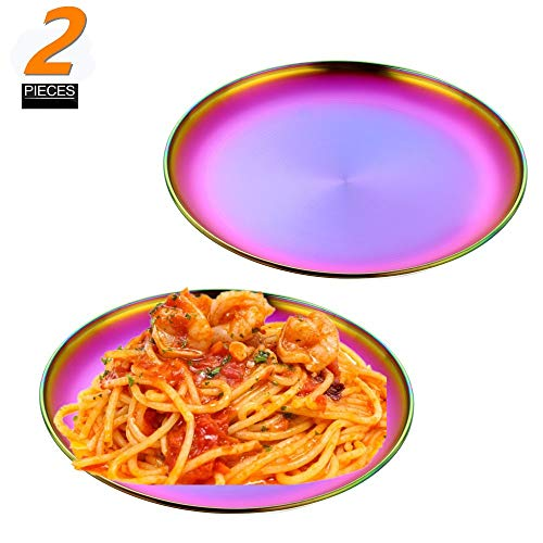 QIBOORUN Round Pizza Baking Pan Sets,Reusable Brushed Metal Dinner Plates-Vintage Quality Stainless Steel Kitchenware Round Metal 9 Inch Plates Use for BBQ Steak, Set of Two-Rainbow Color
