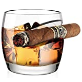Old Fashioned Whiskey Glass, Kollea Cigar Whiskey Glass with Cigar Rest Holder, Gift for Men Who Have Everything, Elegant Gift Box for Christmas, New Year, Thanksgiving, Birthday (Round)