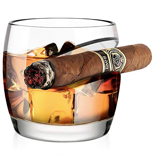 Old Fashioned Whiskey Glass, Kollea Cigar Whiskey Glass 15 Oz with Cigar Rest Holder, Gifts for Men Who Have Everything, Elegant Gift Box for Christmas, New Year, Thanksgiving, Birthday (Round)