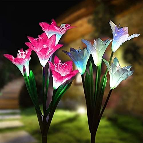 Luces solares de Flores al Aire Libre a Prueba de Agua -2 Paquete con 8 Flores de Lirio LED Que cambian de Color para decoración de jardín decoración de Patio (Color : Pink+White)