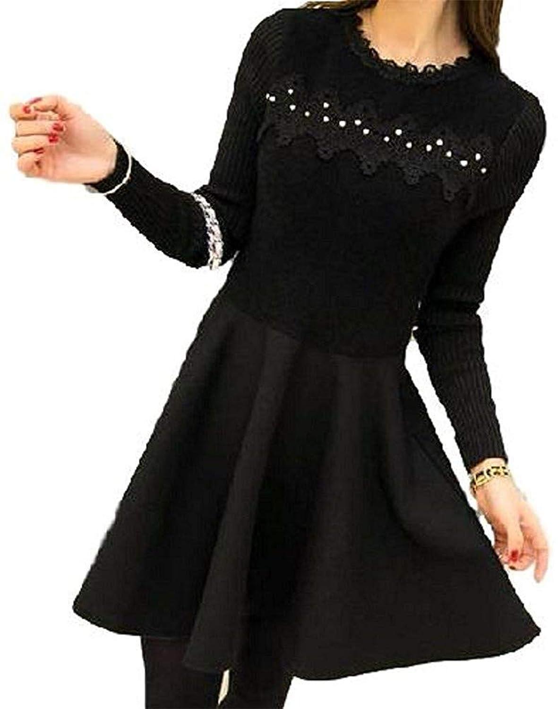 美しいです]秋と冬は新しい女性の服を着て、甘いと気質は薄い、中と長いドレス、長袖のニットボトムスカートだった