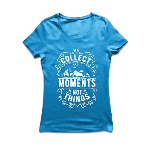 lepni.me Camiseta Mujer Citas Inspiradoras de Viajes, recolecta Momentos, no Cosas (Large Azul