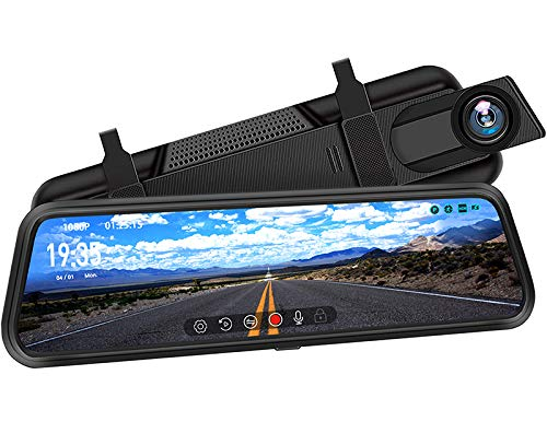 "DuDuBell Mirror Dash Cam, 10"" Backup Camera with Reverse Assistance, 1080P Front and Rear Cameras with Enhanced Night Vision, IPS Full Touch Screen Wide Angel HDR+"