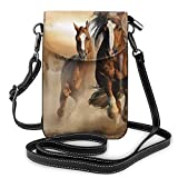 XCNGG bolso del teléfono Premium PU Leather Crossbody Bag Cell Phone Purse, Lightweight Mini smart phone Pouch with Adjustable Shoulder Strap, Wild Chestnut Horses