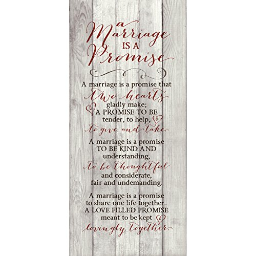 Marriage Promise Wood Plaque Inspiring Quote - Classy Vertical Frame Wall Hanging Decoration | A Promise That Two Hearts Gladly Make | Christian Family Religious Home Decor Saying (5.5' x 12')