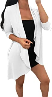 neveraway Womens Long Sleeve Open Fitted Trendy Chiffon Overcoat Trench Coat