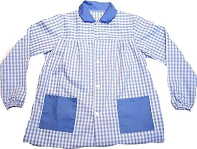 ESCOLAIN - Mandilón Bicolor Colegio para Niño - Color - Cuadro Grande en Azul Blanco y Azul en Cuello y Bolsillo - Talla - 4