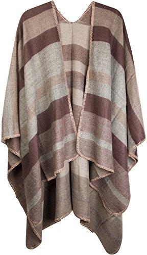 styleBREAKER Poncho mit Streifen Muster, Überwurf Cape, Wendeponcho, Damen 08010009, Farbe:Braun-Beige-Grau