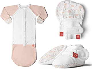 Newborn Baby Mittens, Booties & Sleep Sack Pajamas Bundle, Organic, Soft & Adjustable