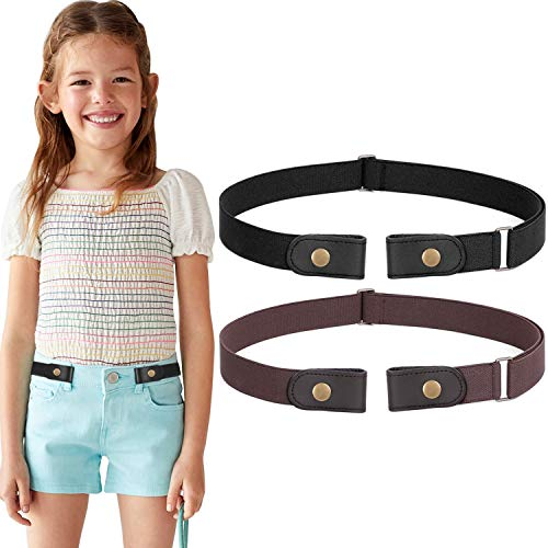 No Buckle Stretch Belt for Child Boys Girls Buckle Free Kids Belt Buckleless for Pants Jeans, Black+Coffee,Waist Size Below 24 Inches