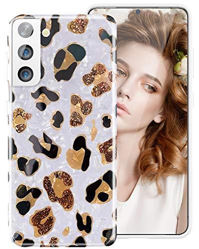 iDLike Für Galaxy S21 Plus Hülle für Frauen Mädchen, Glitzer Leopard Gepard Print Cute Design Weiche Silikon Handyhülle mit Sparkly Pearly Lustre Shell für Samsung Galaxy S21+ Plus, Leopard/Weiß