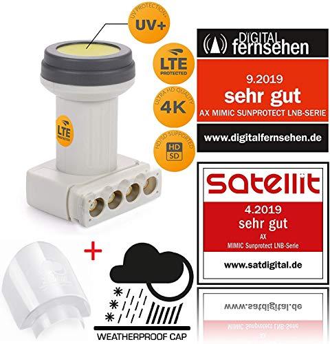 AX Mimic Sun Protect Digital Quad LNB - 0.1dB [ Test 2X SEHR GUT ] HDTV, 4K, UHD, Full HD - extrem kälte & hitzebeständig (-35 bis 70°C) - für 4 Teilnehmer - 4fach LNB + LNB Wetterschutz-Haube