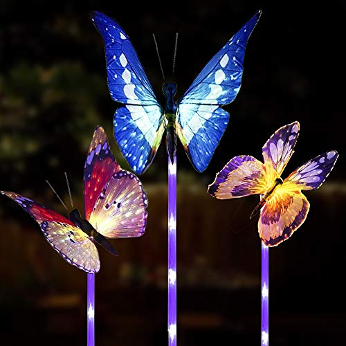 CREPRO Garden Solar Lights Outdoor, 3 Pack Solar Butterfly Lights, Solar Stake Light with Waterproof Fiber Optic Butterfly Decorative Lights, Multi-Color Changing LED Solar Lights Garden Gifts
