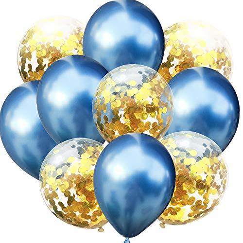 Oblique Unique® Konfetti Luftballon Set für Geburtstag Feier Jubiläum Hochzeit JGA Party Deko Ballons Blau Gold