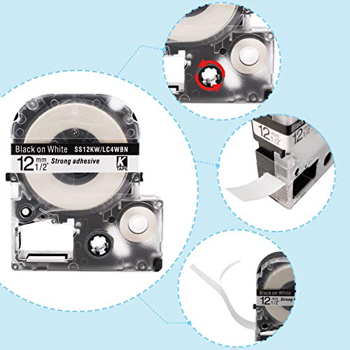 """Absonic Compatible Label Tape Replacement for LK-4WBN LC-4WBN LC 4WBN9 SS12KW 12mm Cartridge for Epson LabelWorks LW-300 LW-400 LW-500 LW-600P LW-700 Label Maker, Black on White, 1/2"""" x 26', 2-Pack Photo #3"""