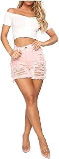 HEFASDM Women Denim Jeans High Waisted Tassel Hot Short Shorts