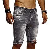 Leif Nelson Herren Jeans Shorts Sommer Kurze Jogger Hose Jeanshose Chinos Cargo Bermuda Stretch Slim Fit LN9290; W32; Schwarz