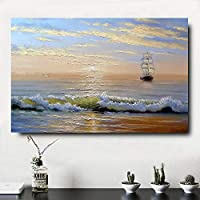 キャンバス塗装 ウォールアートポスター用リビングルーム帆船海景油絵船家の装飾アートワーク 50*75cm