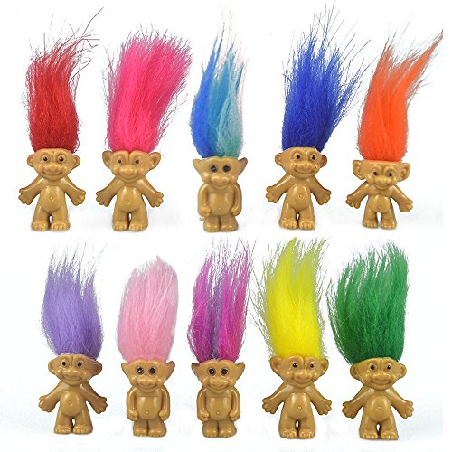 10PCS Mini Troll Dolls, PVC Vintage Trolls Lucky Doll Mini Action Figures 1.2 Cake Toppers Chromatic Adorable Cute Little Guys Collection, School Project, Arts Crafts, Party Favors