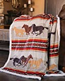 Carstens, INC Wrangler Running Horse Country Sherpa Fleece Throw Blanket, Brown, One Size