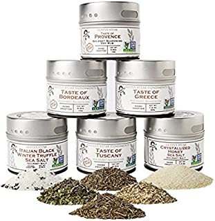 Luxury Gourmet Seasonings, Spices & Italian Black Truffle Sea Salt Collection - Non GMO - 6 Magnetic Tins - All Natural - Sustainably Sourced - Artisan Spice Blends - Crafted in Small Batches