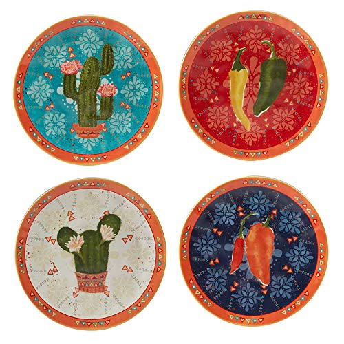 Certified International 37141SET4 Fiesta 8.5' Salad/Dessert Plates, Set of 4, Ceramic, Multicolor