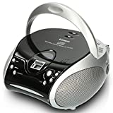 Lenco SCD24 - CD-Player für Kinder - CD-Radio - Stereoanlage - Boombox - UKW Radiotuner - Titel Speicher - 2 x 1,5 W RMS-Leistung - Netz- und Batteriebetrieb - Silber