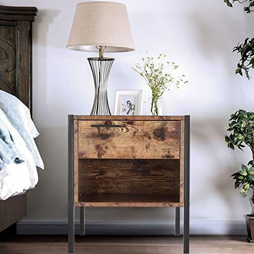 Warmiehomy Bedside Table Industrial Nightstand with Drawer and Open Front Storage Compartment, Retro Vintage Chic Wood Side End Table Look with Metal Legs for Bedroom Living Room, Rustic Brown