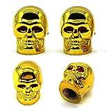Accretion Golden Skull Valve Stem Caps, Antirust Copper Core Truck Motorcycle Bike Car Tire Valve Caps, 4Pcs/Pack